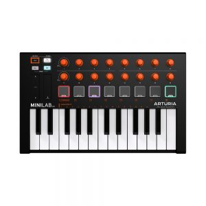 Arturia Minilab MK2 Orange edition, cuerpo negro y perillas naranjas